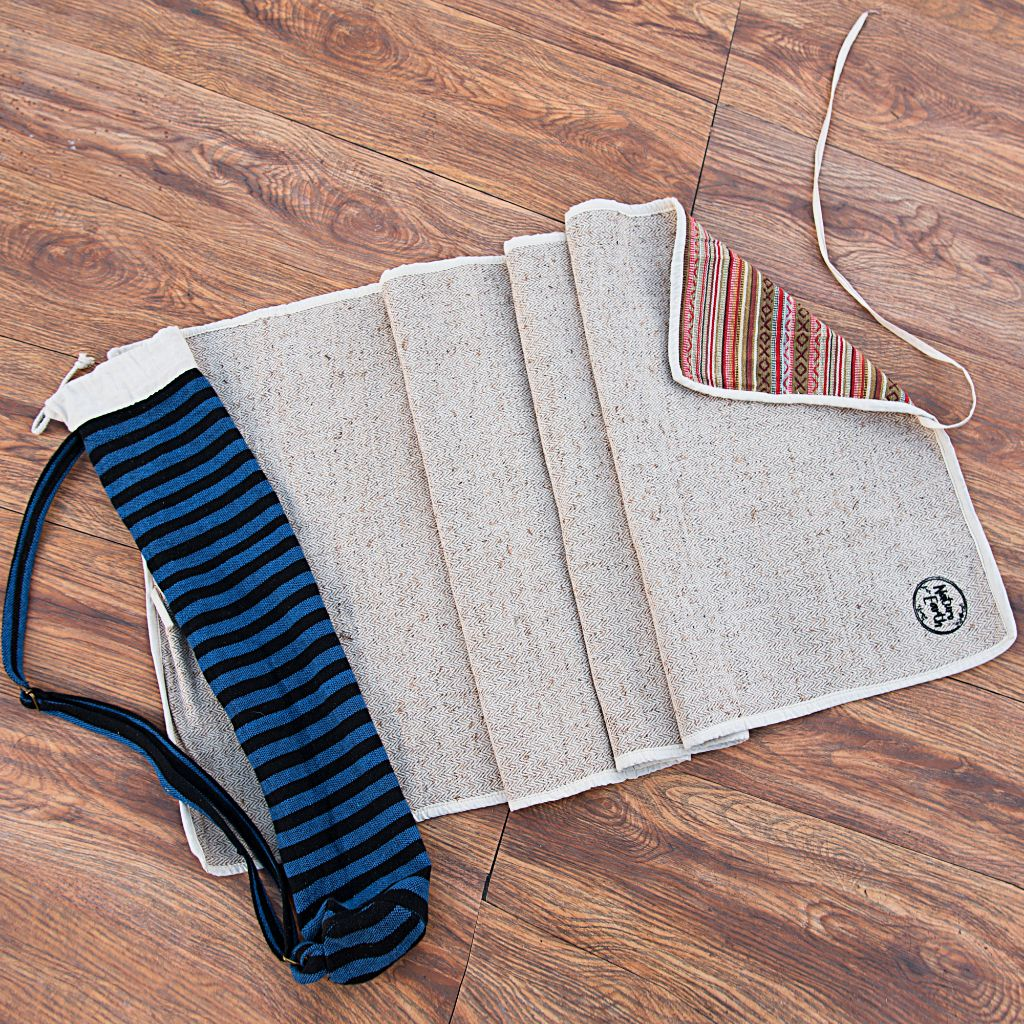 Organic Hemp Yoga Mat With Cover - Two Layer
